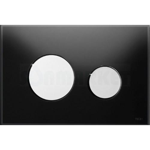 Кнопка смыва для инсталляции с двумя клавишами TECEloop, стеклянная, стекло чёрное, клавиши хром глянцевый