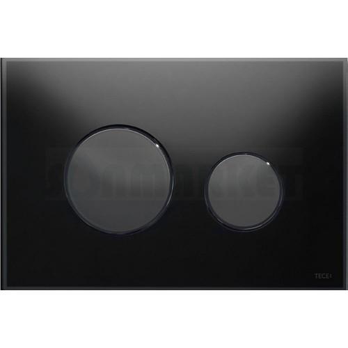 Кнопка смыва для инсталляции с двумя клавишами TECEloop, стеклянная, стекло чёрное, клавиши чёрные