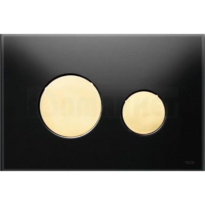 Кнопка смыва для инсталляции с двумя клавишами TECEloop, стеклянная, стекло чёрное, клавиши позолоченные