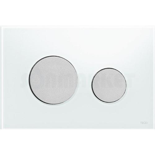 Кнопка смыва для инсталляции с двумя клавишами TECEloop, стеклянная, стекло белое, клавиши хром матовый