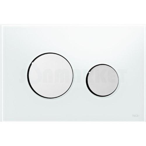 Кнопка смыва для инсталляции с двумя клавишами TECEloop, стеклянная, стекло белое, клавиши хром глянцевый