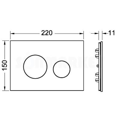 Лицевая панель кнопки инсталляции TECEloop modular полированный сланец
