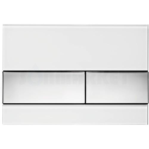 Кнопка смыва для инсталляции с двумя клавишами TECEsquare, стеклянная, стекло белое, клавиши хром глянцевый
