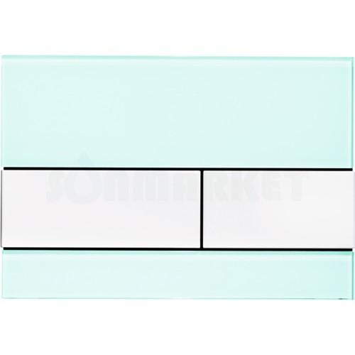 Кнопка смыва для инсталляции с двумя клавишами TECEsquare, стеклянная, стекло зелёное, клавиши белые