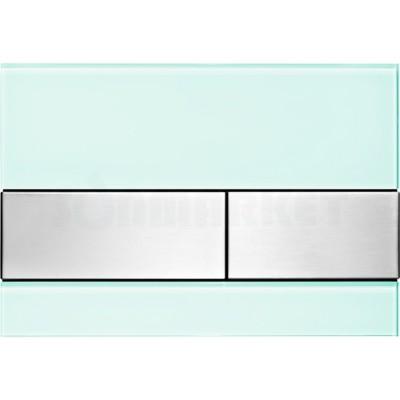 Кнопка смыва для инсталляции с двумя клавишами TECEsquare, стеклянная, стекло зелёное, клавиши нержавеющая сталь, сатин (против отпечатков пальцев)