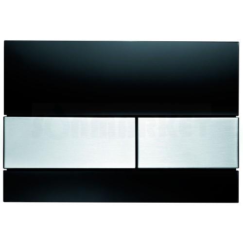 Кнопка смыва для инсталляции с двумя клавишами TECEsquare, стеклянная, стекло чёрное, клавиши нержавеющая сталь, сатин (против отпечатков пальцев)