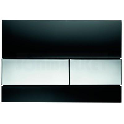 Кнопка смыва для инсталляции с двумя клавишами TECEsquare, стеклянная, стекло чёрное, клавиши хром глянцевый