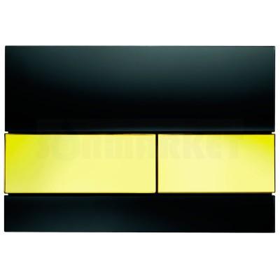 Кнопка смыва для инсталляции с двумя клавишами TECEsquare, стеклянная, стекло чёрное, клавиши позолоченные