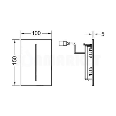 Панель смыва для писсуара бесконтактная TECEfilo, пластик, питание от батареи 7.2В, хром глянцевый