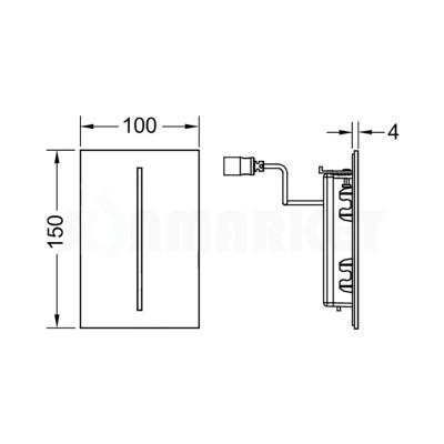Панель смыва для писсуара бесконтактная TECEfilo, нержавеющая сталь, питание от сети 230В