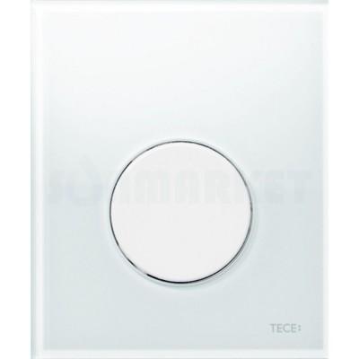 Кнопка смыва для писсуара TECEloop Urinal, стеклянная, стекло белое, клавиша белая