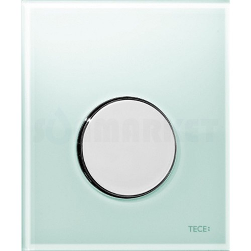 Кнопка смыва для писсуара TECEloop Urinal, стеклянная, стекло зелёное, клавиша хром глянцевый