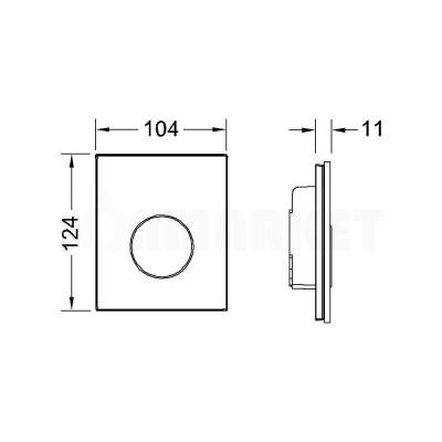 Кнопка смыва для писсуара TECEloop Urinal, стеклянная, стекло чёрное, клавиша чёрная