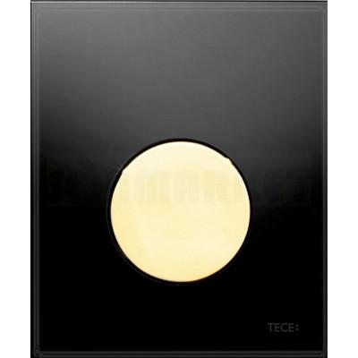 Кнопка смыва для писсуара TECEloop Urinal, стеклянная, стекло чёрное, клавиша позолоченная