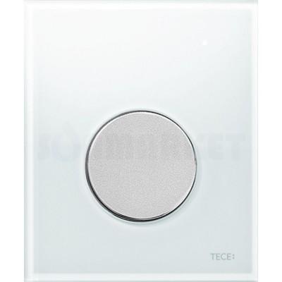 Кнопка смыва для писсуара TECEloop Urinal, стеклянная, стекло белое, клавиша хром матовый