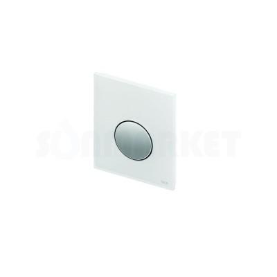 Кнопка смыва для писсуара TECEloop Urinal, стеклянная, стекло белое, клавиша хром глянцевый