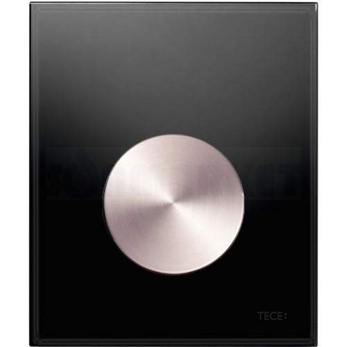 Кнопка смыва для писсуара TECEloop Urinal, стеклянная, стекло чёрное, клавиша нержавеющая сталь (против отпечатков пальцев)