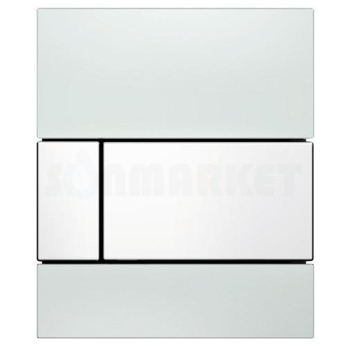 Кнопка смыва для писсуара TECEsquare Urinal, стеклянная, стекло белое, клавиша белая