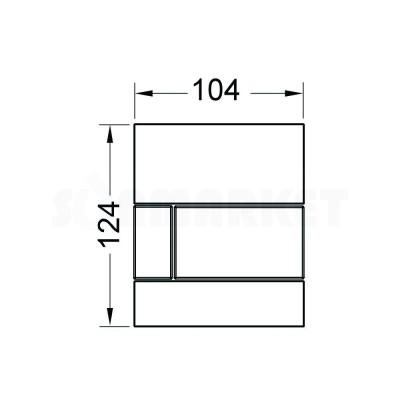 Кнопка смыва для писсуара TECEsquare Urinal, стеклянная, стекло белое, клавиша нержавеющая сталь, сатин (против отпечатков пальцев)