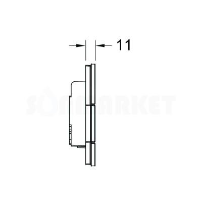 Кнопка смыва для писсуара TECEsquare Urinal, стеклянная, стекло белое, клавиша хром глянцевый