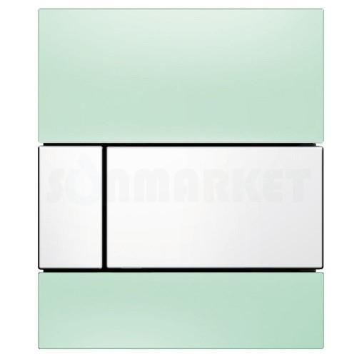 Кнопка смыва для писсуара TECEsquare Urinal, стеклянная, стекло зелёное, клавиша белая