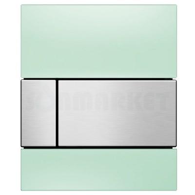 Кнопка смыва для писсуара TECEsquare Urinal, стеклянная, стекло зелёное, клавиша нержавеющая сталь, сатин (против отпечатков пальцев)