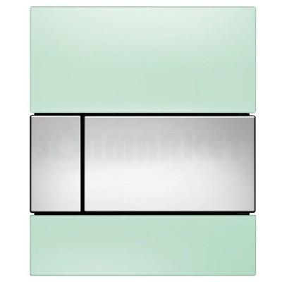 Кнопка смыва для писсуара TECEsquare Urinal, стеклянная, стекло зелёное, клавиша хром глянцевый