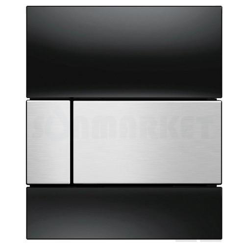 Кнопка смыва для писсуара TECEsquare Urinal, стеклянная, стекло чёрное, клавиша нержавеющая сталь, сатин (против отпечатков пальцев)