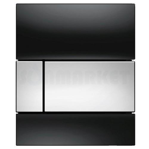 Кнопка смыва для писсуара TECEsquare Urinal, стеклянная, стекло чёрное, клавиша хром глянцевый