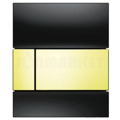 Кнопка смыва для писсуара TECEsquare Urinal, стеклянная, стекло чёрное, клавиша позолоченная