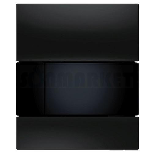 Кнопка смыва для писсуара TECEsquare Urinal, стеклянная, стекло чёрное, клавиша чёрная