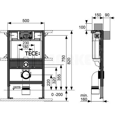 Инсталляция для подвесного унитаза (низкая h 820мм) TECEprofil