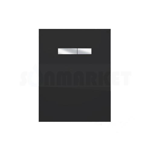 Верхняя панель для систем инсталляций с механическим блоком управления смывом, стекло чёрное, клавиши хром глянцевый TECElux