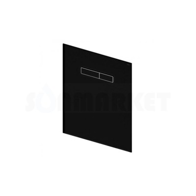 Верхняя панель для систем инсталляций с механическим блоком управления смывом, стекло чёрное, клавиши чёрные TECElux