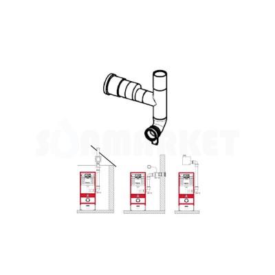 Сливной патрубок для инсталляции с отводом для подключения к вентиляции Дн 70 90 градусов отвод влево TECEprofil